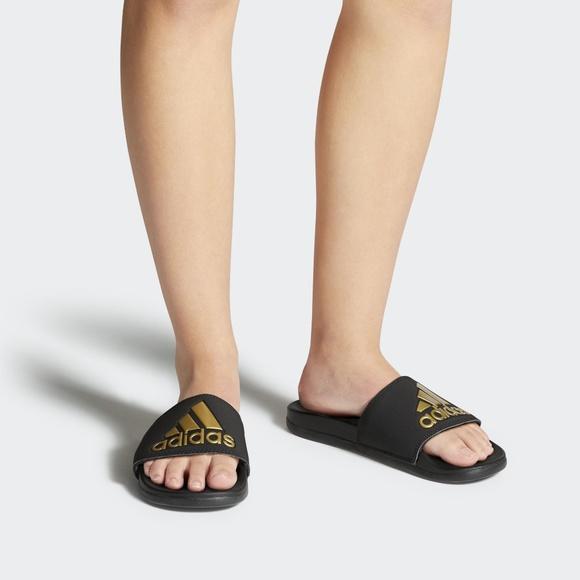 16749e6c714ca0 adidas Adilette Cloudfoam Plus Logo Slides Women s